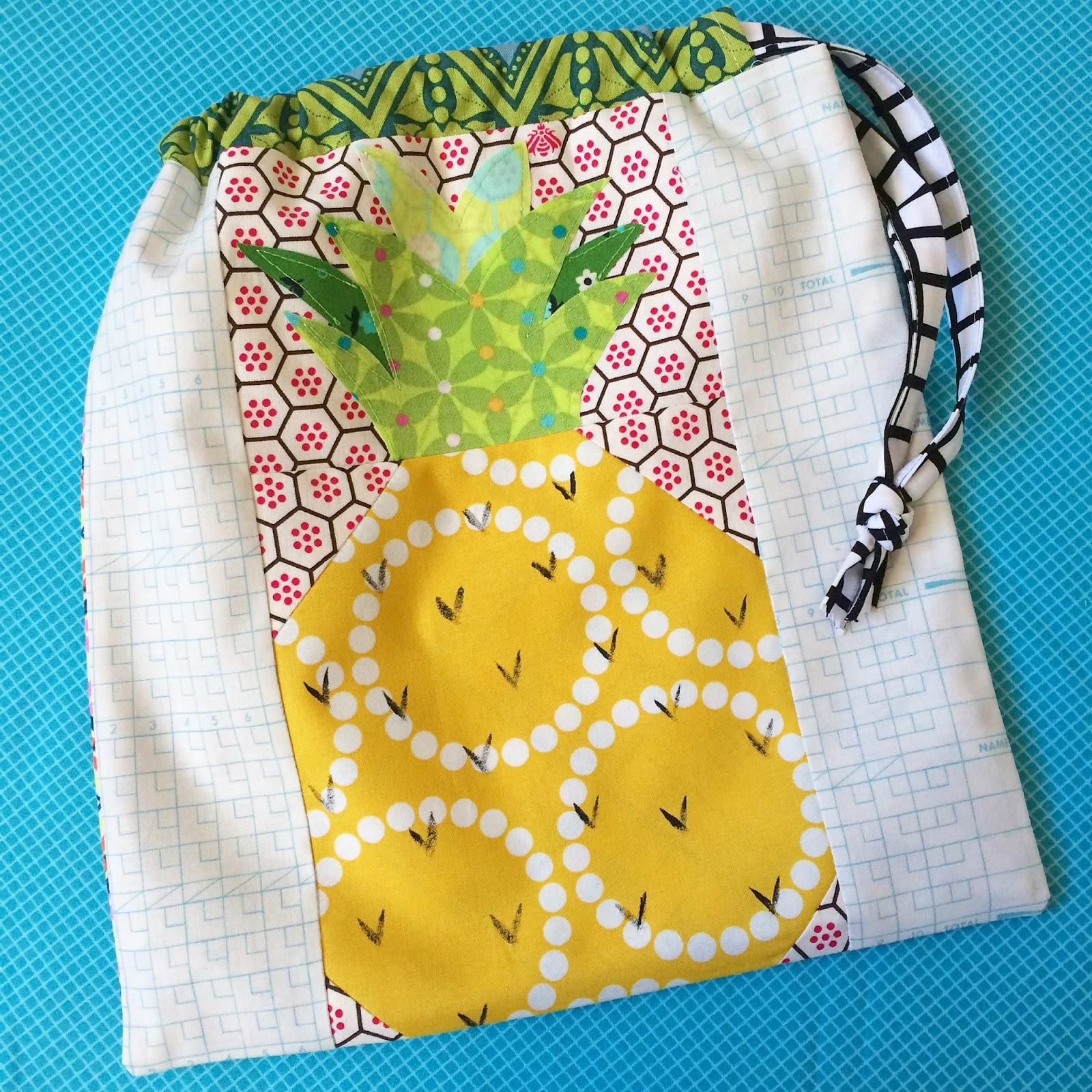 Euphoria Jessica: The Pineapple Drawstring Bag- A Tutorial